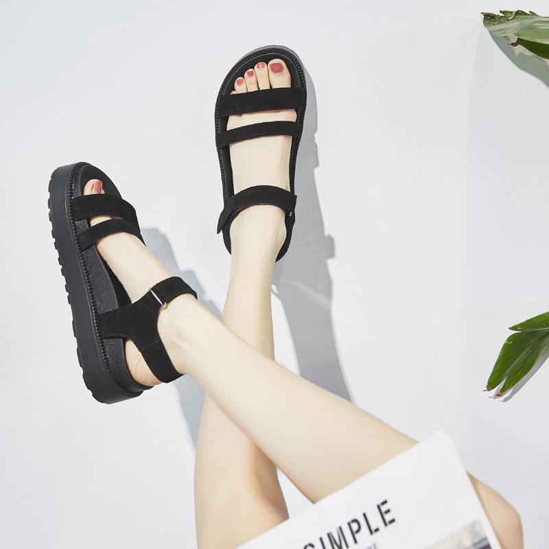 黑色罗马鞋 罗马凉鞋女夏天2021新款时尚百搭外穿黑色真皮软底厚底松糕底舒适_推荐淘宝好看的黑色罗马鞋