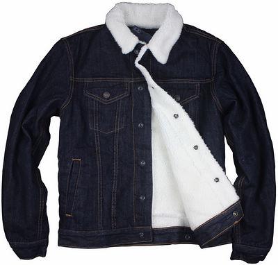 牛仔夹克 12外贸品牌男G家仿羊羔绒深暗藏蓝色黑原色加厚保暖牛仔外套夹克_推荐淘宝好看的男牛仔夹克
