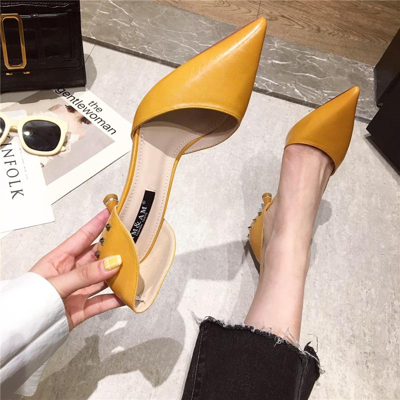 黄色尖头鞋 韩版春夏新款高跟鞋简约尖头浅口细跟中空单鞋工作鞋女黄色小跟鞋_推荐淘宝好看的黄色尖头鞋