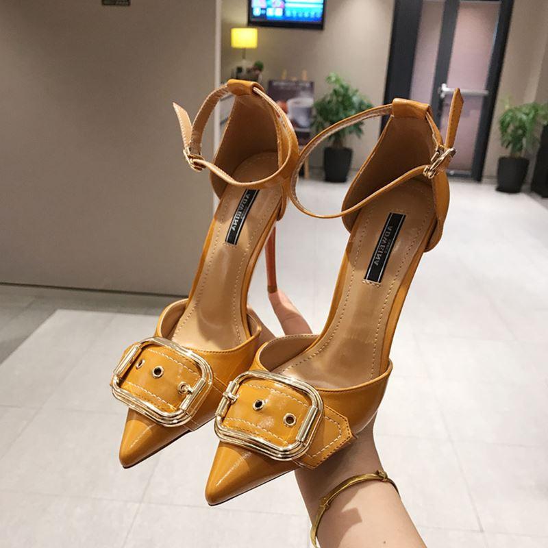 黄色高跟鞋 10cm超高跟细跟中空高跟鞋漆皮皮带扣搭扣时尚女士性感黄色女单鞋_推荐淘宝好看的黄色高跟鞋