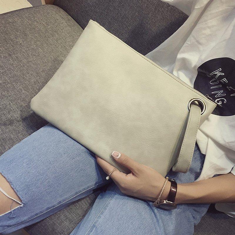 白色手拿包 春季新款iPad包包韩国信封包手抓包简约女士手包时尚大容量手拿包_推荐淘宝好看的白色手拿包