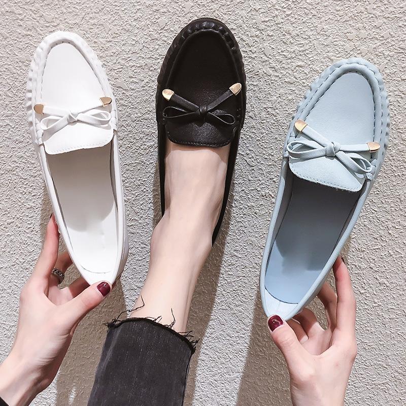 白色豆豆鞋 软底豆豆鞋女秋季2020新款平底妈妈防滑白色护士鞋一脚蹬浅口单鞋_推荐淘宝好看的白色豆豆鞋