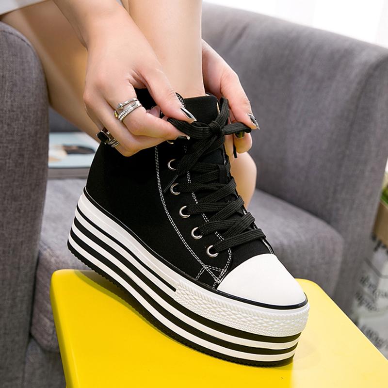 黑色松糕鞋 黑色帆布鞋女高帮2020新款韩版内增高10cm小白鞋厚底松糕单鞋百搭_推荐淘宝好看的黑色松糕鞋