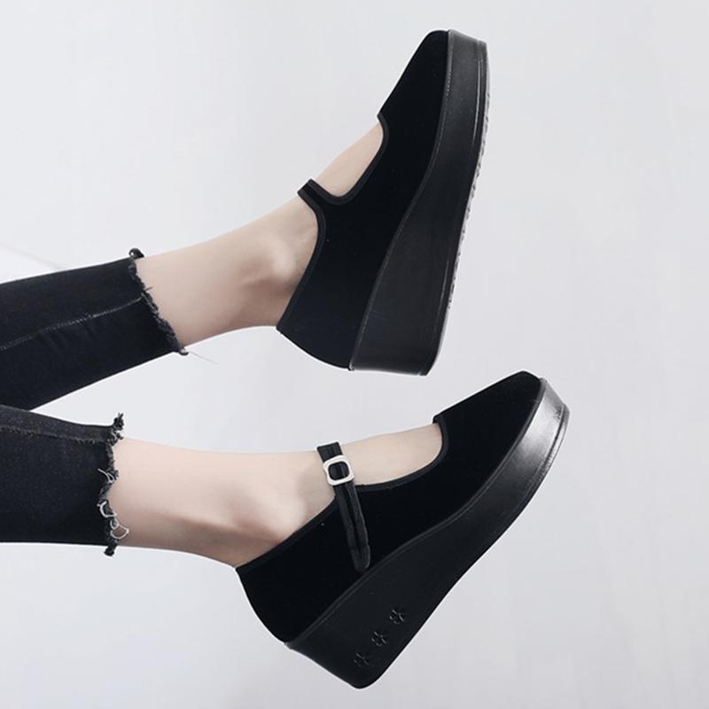 黑色坡跟鞋 老北京布鞋女工作鞋女黑色平跟鞋酒店黑布鞋厚底坡跟妈妈鞋跳舞鞋_推荐淘宝好看的黑色坡跟鞋