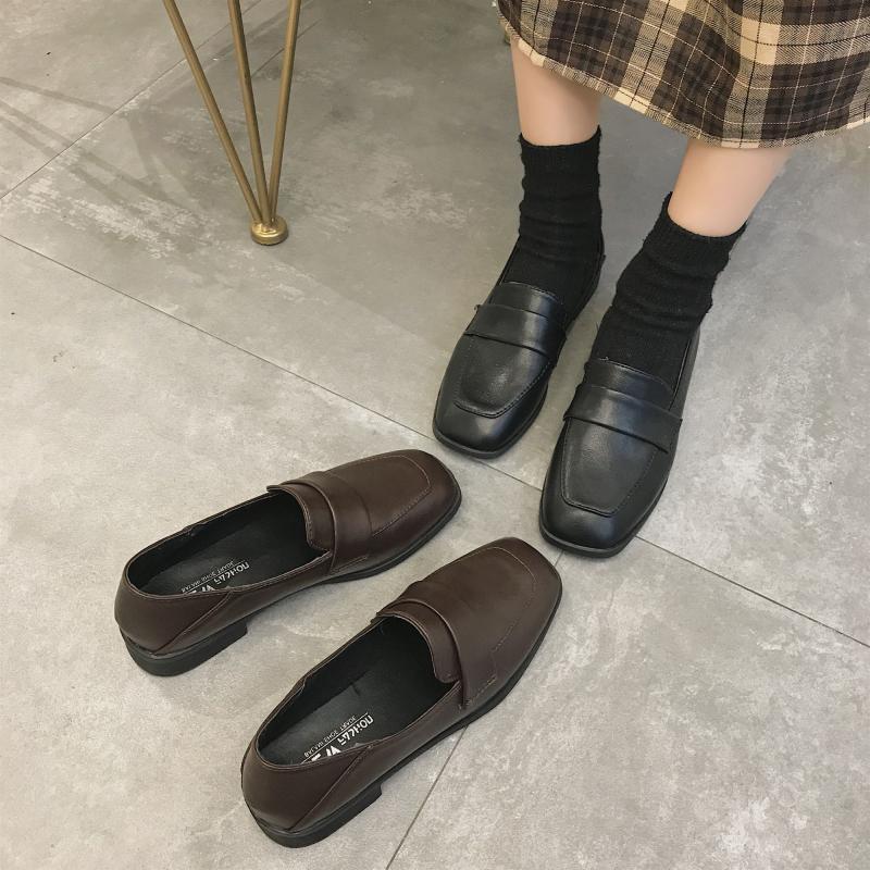 黑色平底鞋 日系ins黑色小皮鞋女英伦2020春款学生韩版百搭方头平底jk单鞋夏_推荐淘宝好看的黑色平底鞋