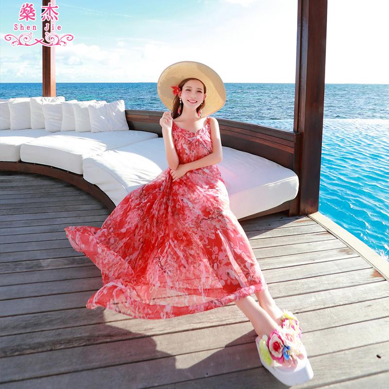 以纯牛仔连衣裙 沙滩裙泰国海边度假波西米亚长裙雪纺碎花显瘦海滩女夏裙子连衣裙_推荐淘宝好看的以纯牛仔连衣裙