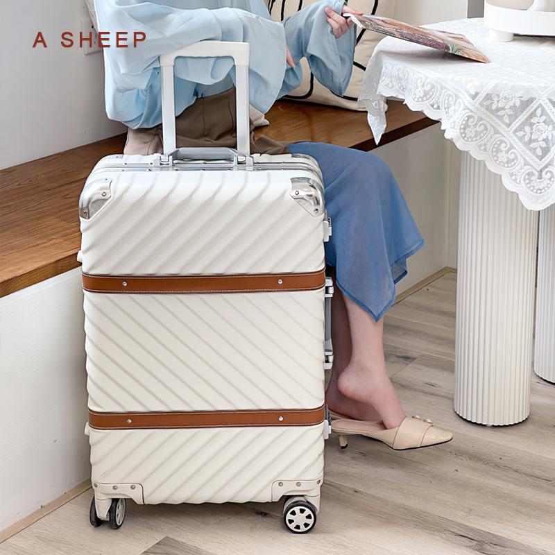 香奈儿复古包 拉杆箱万向轮24寸铝框皮箱旅行箱女行李箱26寸包硬箱复古登机箱20_推荐淘宝好看的女香奈儿复古包