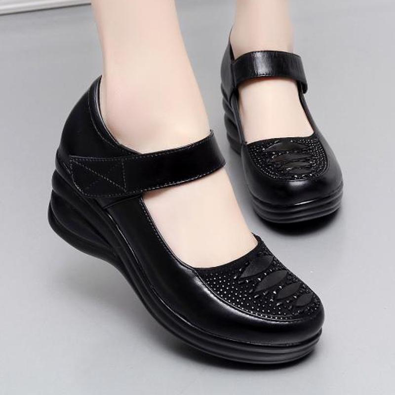 水钻坡跟鞋 春夏女鞋厚底坡跟真皮鞋浅口单鞋中跟女士皮鞋水钻中年妈妈跳舞鞋_推荐淘宝好看的水钻坡跟鞋