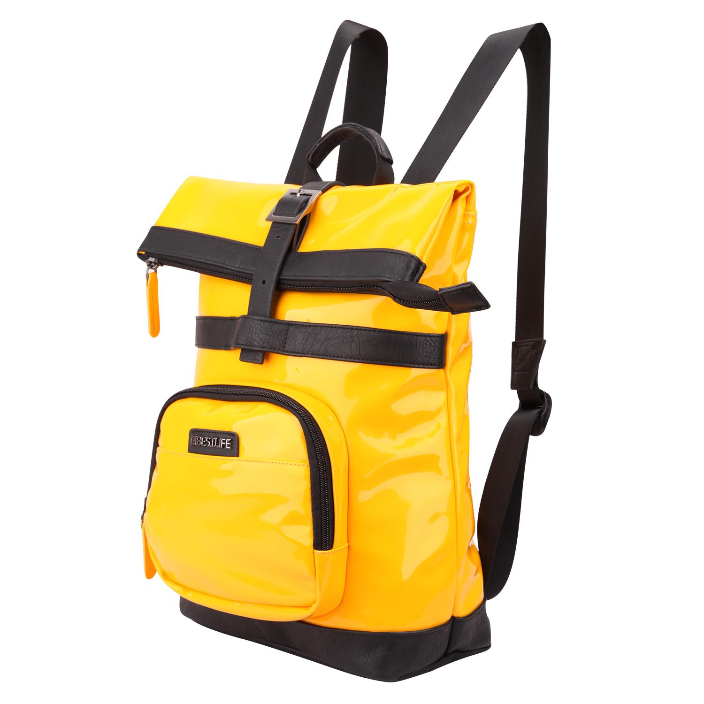 黄色双肩包 PU时尚潮流休闲双肩背包防水亮丽撞色纯色黄色学院风书包青年拉链_推荐淘宝好看的黄色双肩包