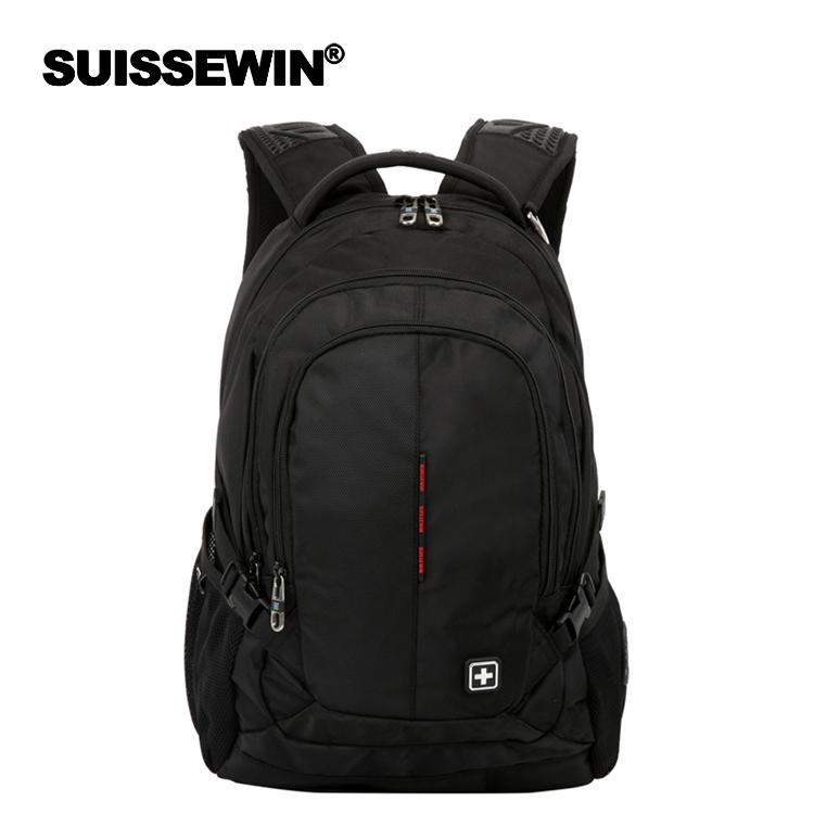 电脑双肩包 瑞士军刀SUISSEWIN商务电脑包时尚大容量背包男女双肩包学生书包_推荐淘宝好看的女电脑双肩包