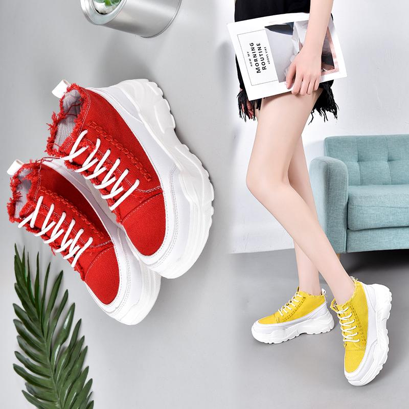 韩版松糕鞋 低帮帆布鞋女学生韩版百搭夏季透气新松糕底女增高时尚休闲女单鞋_推荐淘宝好看的女韩版松糕鞋