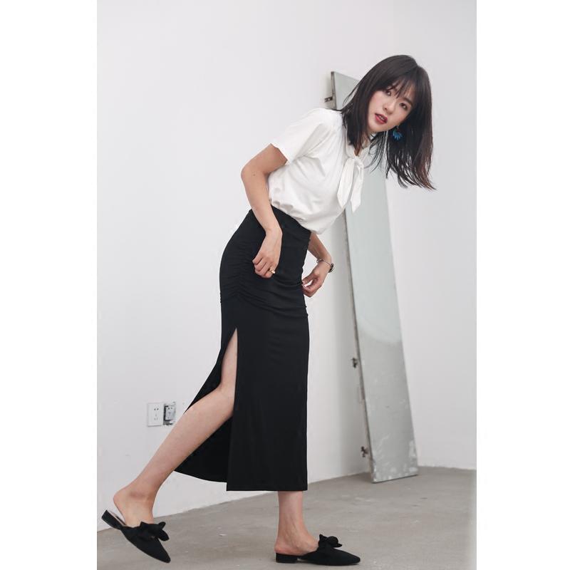 半身长裙子 欧美风女装夏季褶皱性感高侧开叉长裙显瘦修身包臀半身裙大码小码_推荐淘宝好看的半身长裙