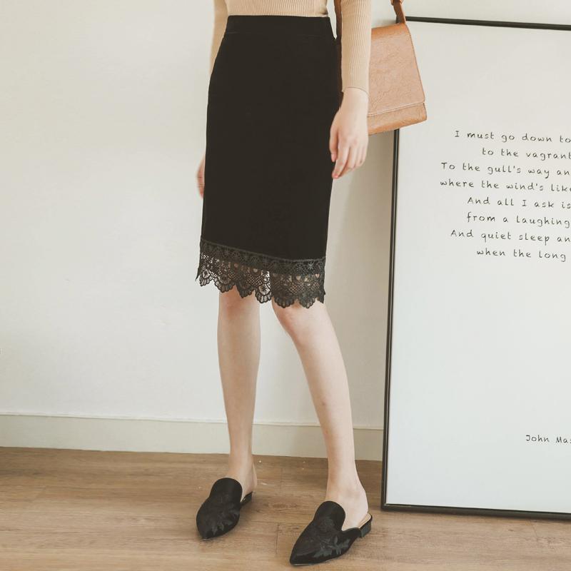 蕾丝半身裙 欧美风新款秋冬法式复古蕾丝拼接金丝绒半身裙中长款包臀裙大码女_推荐淘宝好看的蕾丝半身裙
