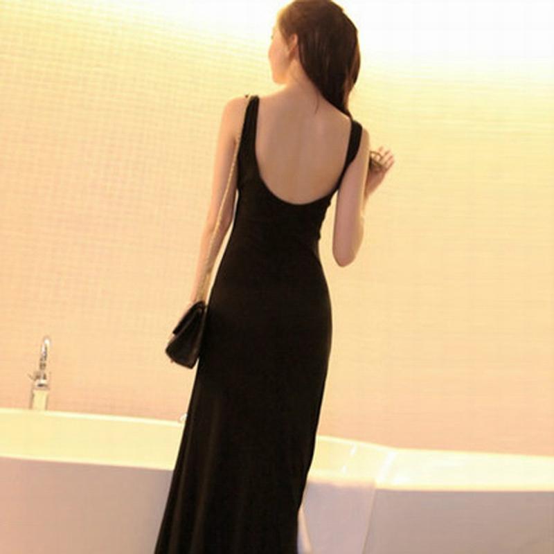 女士修身连衣裙 欧美风女装夏季莫代尔露背连衣裙修身打底显瘦背心长裙大码小码_推荐淘宝好看的修身连衣裙
