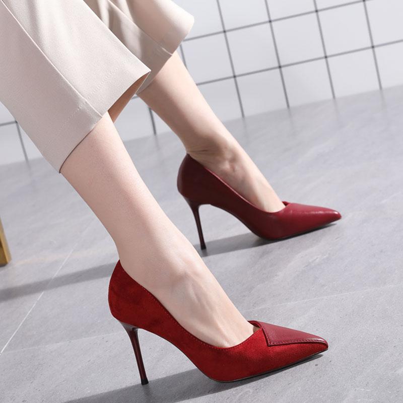 红色高跟鞋 红色婚鞋女2020新款春秋拼接浅口尖头单鞋细跟性感少女高跟鞋百搭_推荐淘宝好看的红色高跟鞋
