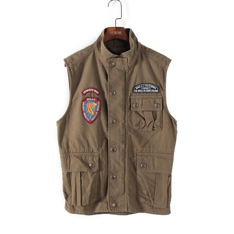 绿色马甲 W系列春秋装专柜正品男装军绿色外套口袋徽立领马甲 58055_推荐淘宝好看的绿色马甲
