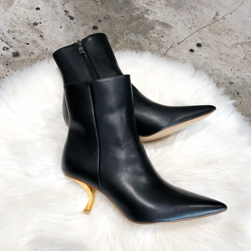 尖头鞋 加绒尖头高跟鞋细跟短靴女中跟2019秋冬新款欧美金属猫跟女靴子潮_推荐淘宝好看的女尖头鞋