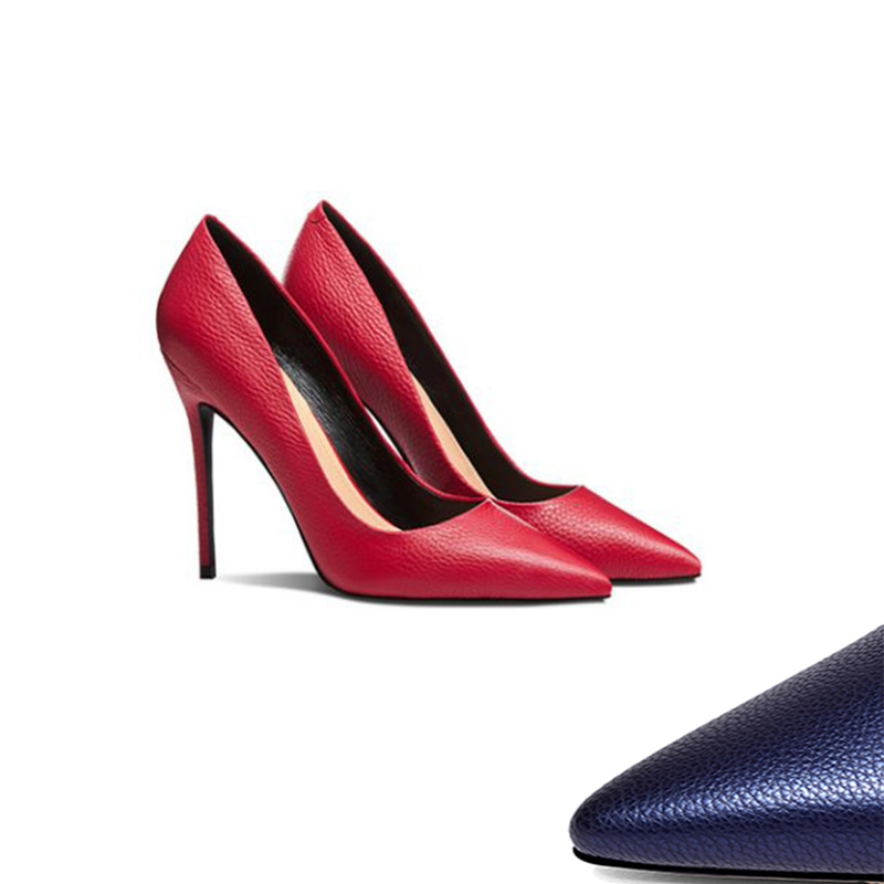 时尚单鞋 2019新款红色荔枝纹细跟尖头高跟单鞋时尚黑色31 32 33蓝色女鞋潮_推荐淘宝好看的女时尚单鞋