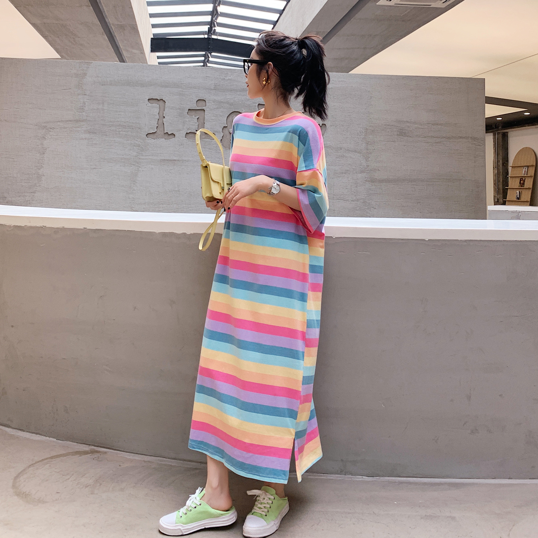 夏季条纹连衣裙 彩虹条纹撞色短袖T恤女韩版2020新款宽松纯棉中长款连衣裙上衣夏_推荐淘宝好看的夏条纹连衣裙