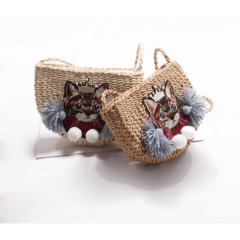 猫咪草编包 新款猫咪手工编织包可爱少女单肩斜挎草编包巴厘岛海边度假沙滩包_推荐淘宝好看的猫咪草编包
