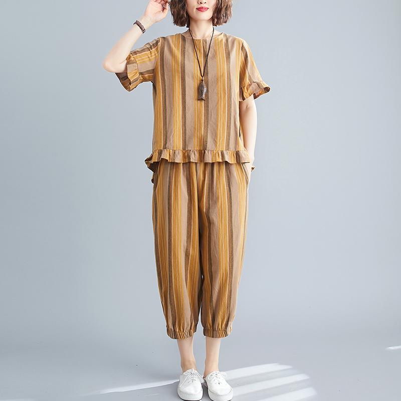 彩色条纹t恤 大码女装夏季新款彩色条纹棉麻T恤女短袖宽松七分裤套装女两件套_推荐淘宝好看的女彩色条纹t恤