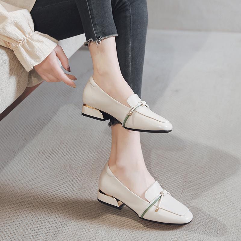 白色单鞋 白色软皮奶奶鞋真皮平底豆豆单鞋2020新款春季皮鞋大码女鞋41一43_推荐淘宝好看的白色单鞋