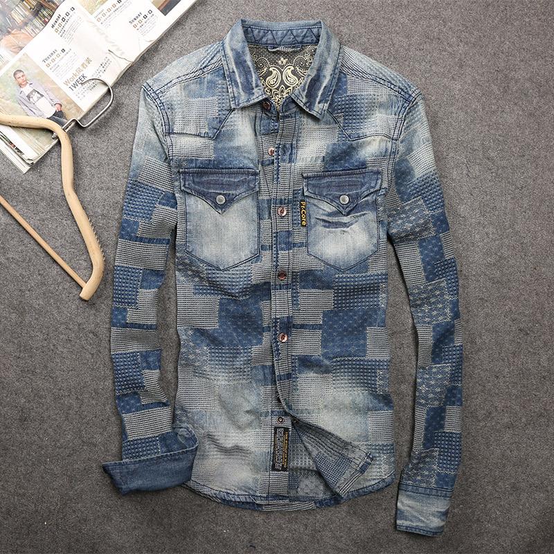 男士牛仔衬衫 卡威酷潮男春装新款面料做旧水洗牛仔衬衫 男士长袖衬衣外套上衣_推荐淘宝好看的男牛仔衬衫