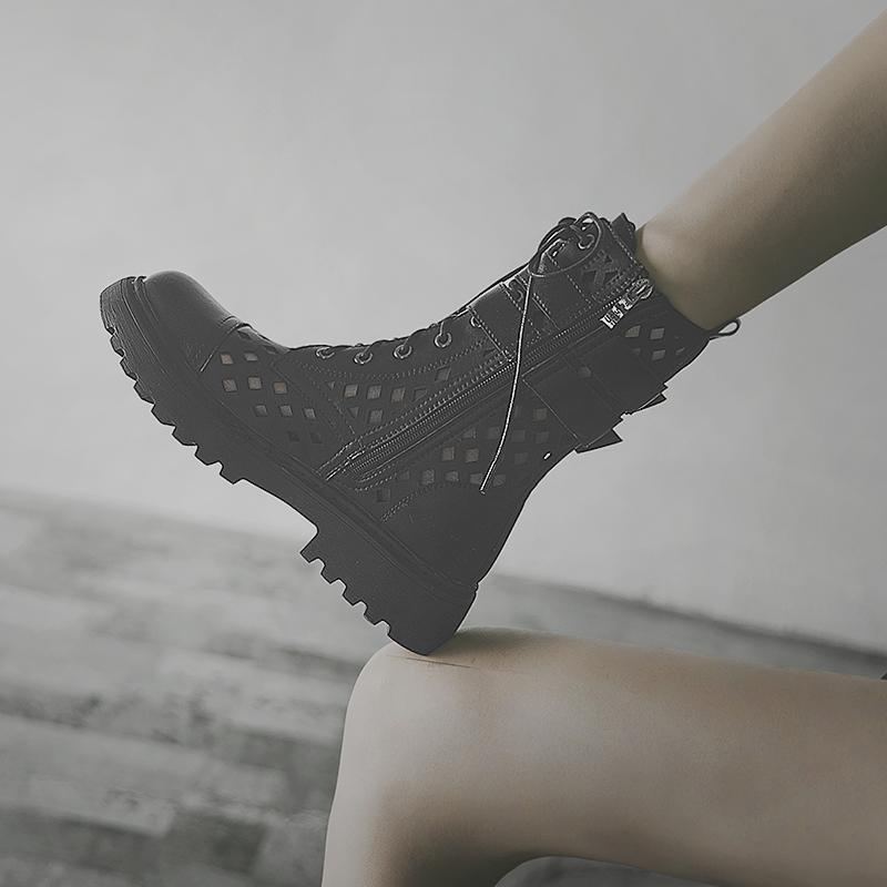 英伦短靴 透气马丁靴女春秋单靴2021年新款英伦风百搭镂空中筒薄款真皮短靴_推荐淘宝好看的女英伦短靴