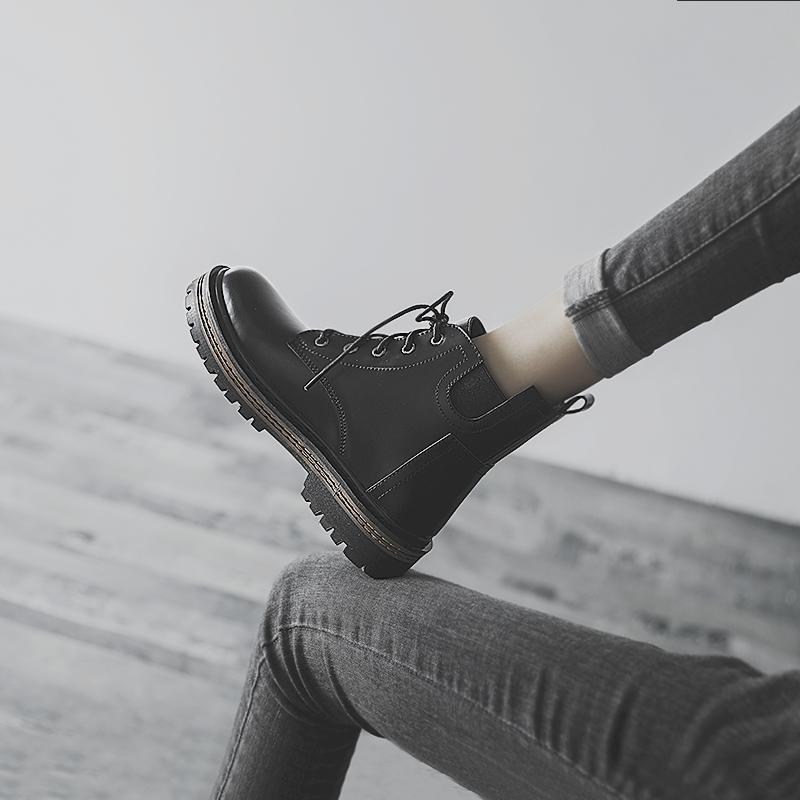 英伦短靴 平底短靴女2020年秋冬新款加绒短筒女靴百搭英伦风马丁靴ins潮酷_推荐淘宝好看的女英伦短靴