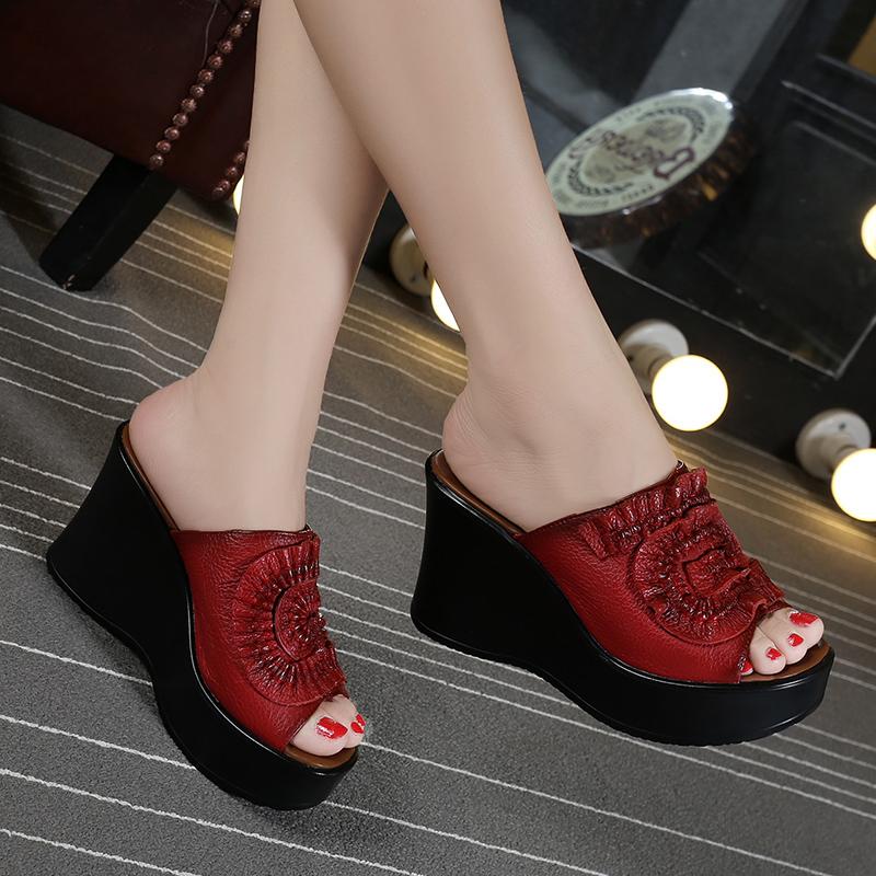 真皮坡跟鞋 品牌夏新款民族风真皮凉鞋坡跟厚底高跟拖鞋鱼嘴一字凉拖女鞋红40_推荐淘宝好看的真皮坡跟鞋