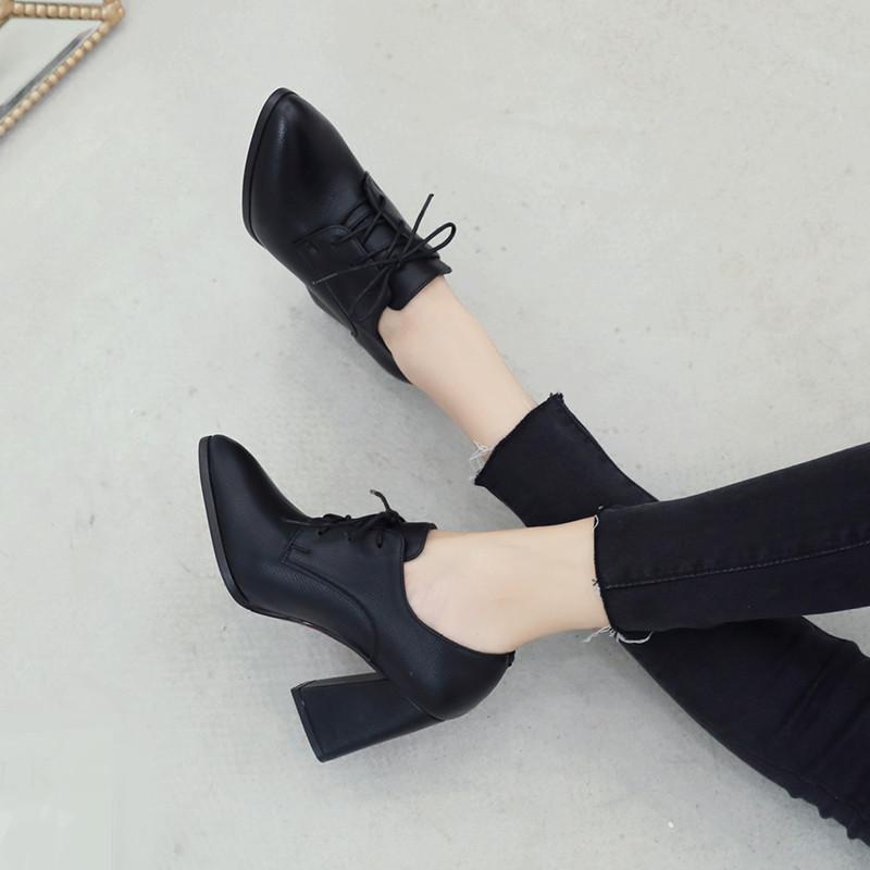 黑色单鞋 欧美尖头粗跟高跟鞋深口系带单鞋女鞋大码英伦风黑色小皮鞋工作鞋_推荐淘宝好看的黑色单鞋
