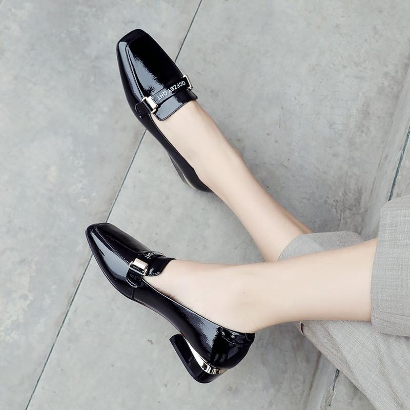 黑色豆豆鞋 2020新款豆豆鞋低跟方头单鞋女粗跟英伦黑色工作小皮鞋百搭乐福鞋_推荐淘宝好看的黑色豆豆鞋