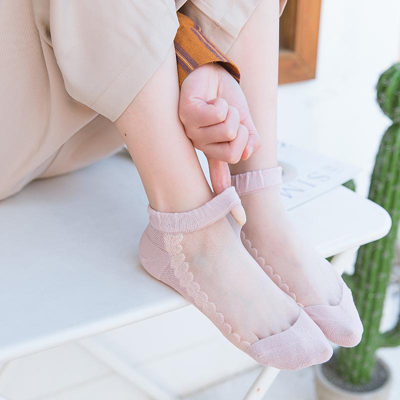 糖果色短丝袜 日系甜美糖果色卡丝袜透明袜子女春夏季超薄款水晶短筒低帮棉袜子_推荐淘宝好看的糖果色短丝袜