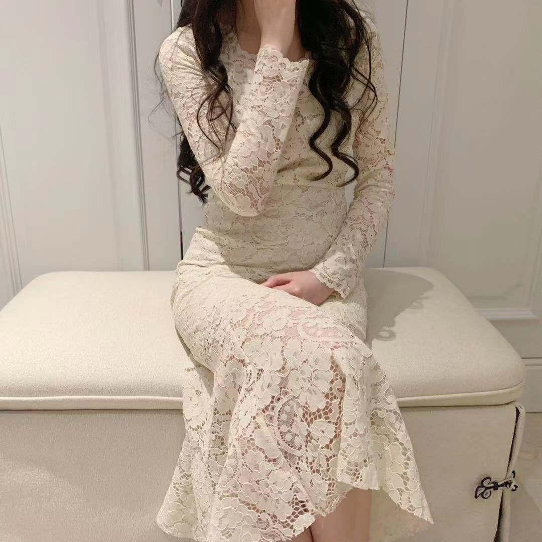 性感蕾丝连衣裙 Sweetheart 《鱼尾》女人味十足的性感淑女V领长袖蕾丝连衣裙_推荐淘宝好看的性感蕾丝连衣裙