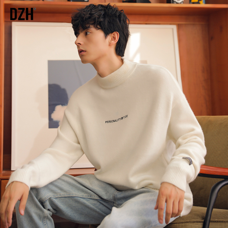 白色针织衫 男士白色半高领毛衣男厚款冬季韩版潮流宽松慵懒风2020新款针织衫_推荐淘宝好看的白色针织衫
