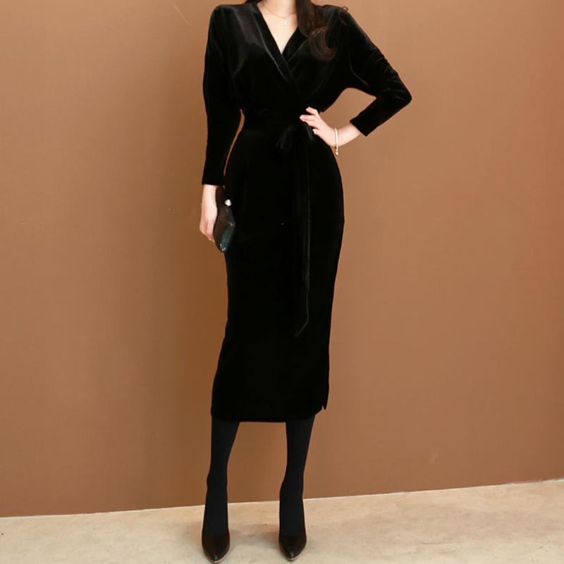 黑色连衣裙 秋冬连衣裙黑色金丝绒长款长裙修身包臀显瘦气质女晚礼服平时可穿_推荐淘宝好看的黑色连衣裙
