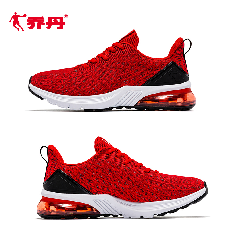 红色运动鞋 乔丹男鞋运动鞋大红色减震气垫秋冬季全红纯黑男网面跑步鞋透气男_推荐淘宝好看的红色运动鞋