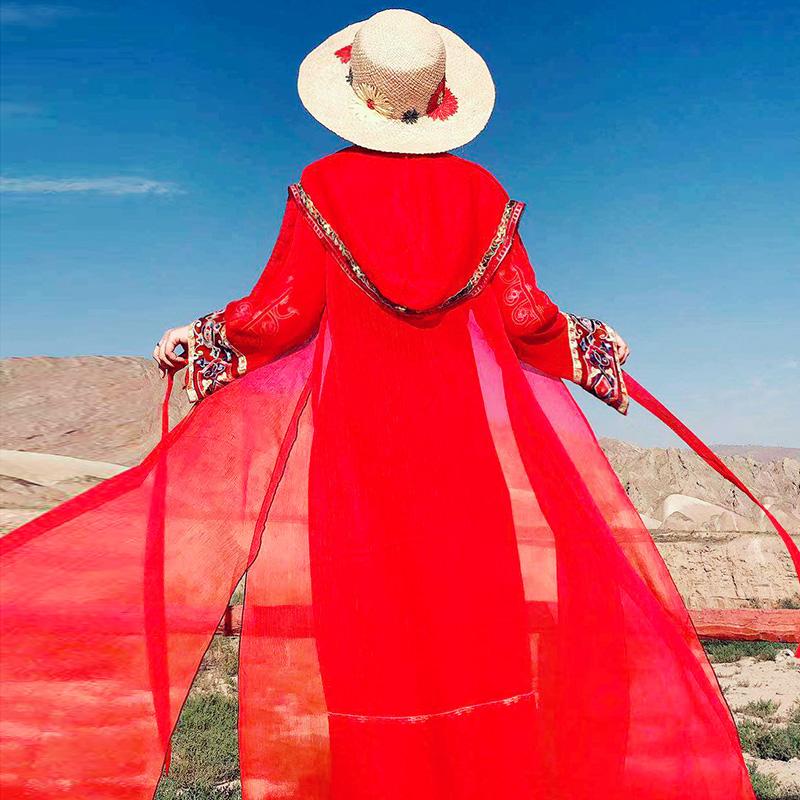 红色雪纺衫 西藏沙漠旅游新款红色民族风披肩开衫女防晒外套雪纺长袖沙滩上衣_推荐淘宝好看的红色雪纺衫