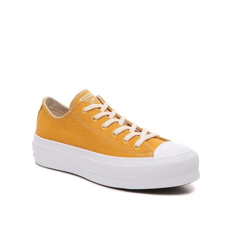 黄色松糕鞋 Converse匡威女帆布鞋厚底松糕鞋低帮系带黄色青春正品470431_推荐淘宝好看的黄色松糕鞋