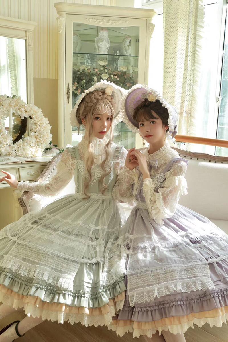 紫色连衣裙 Alice girl原创新款 Lolita山茶花开时cla优雅 jsk连衣裙 含罩纱_推荐淘宝好看的紫色连衣裙