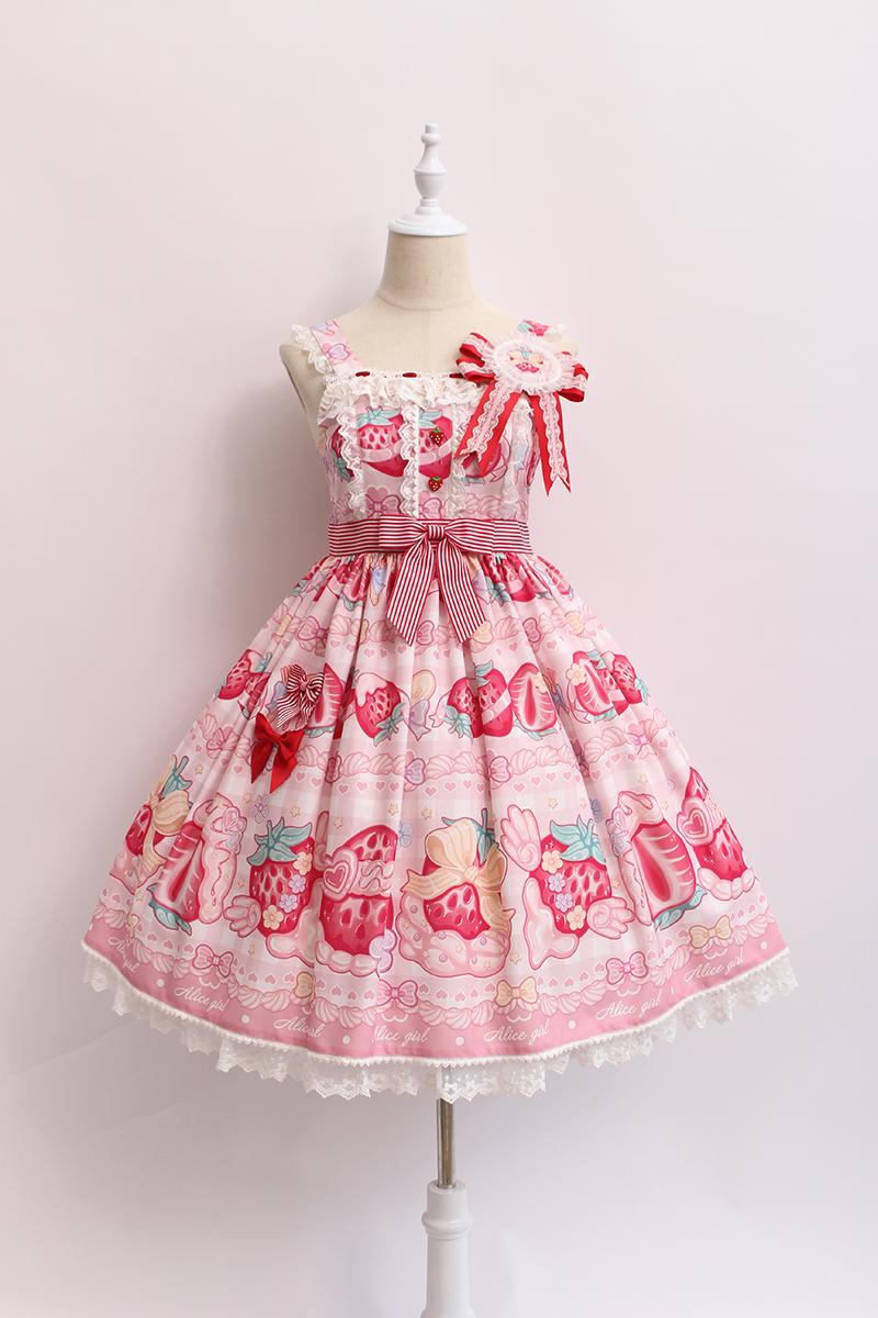紫色连衣裙 Alice girl原创新款 Lolita奶油草莓jsk吊带连衣裙 含胸章_推荐淘宝好看的紫色连衣裙