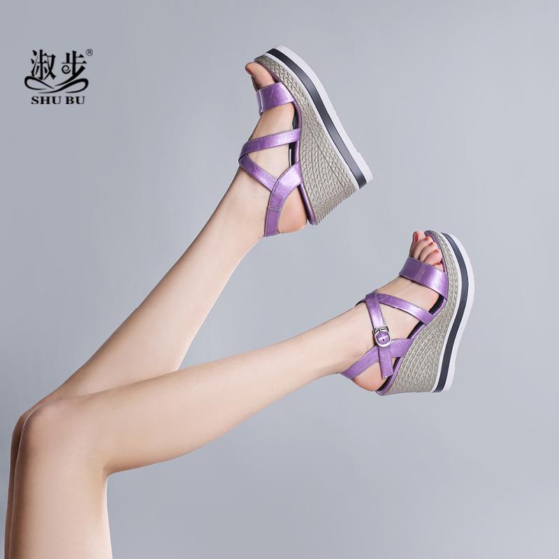 紫色鱼嘴鞋 淑步紫色坡跟凉鞋女夏2019新款防水台厚底凉鞋女松糕鞋露趾高跟鞋_推荐淘宝好看的紫色鱼嘴鞋