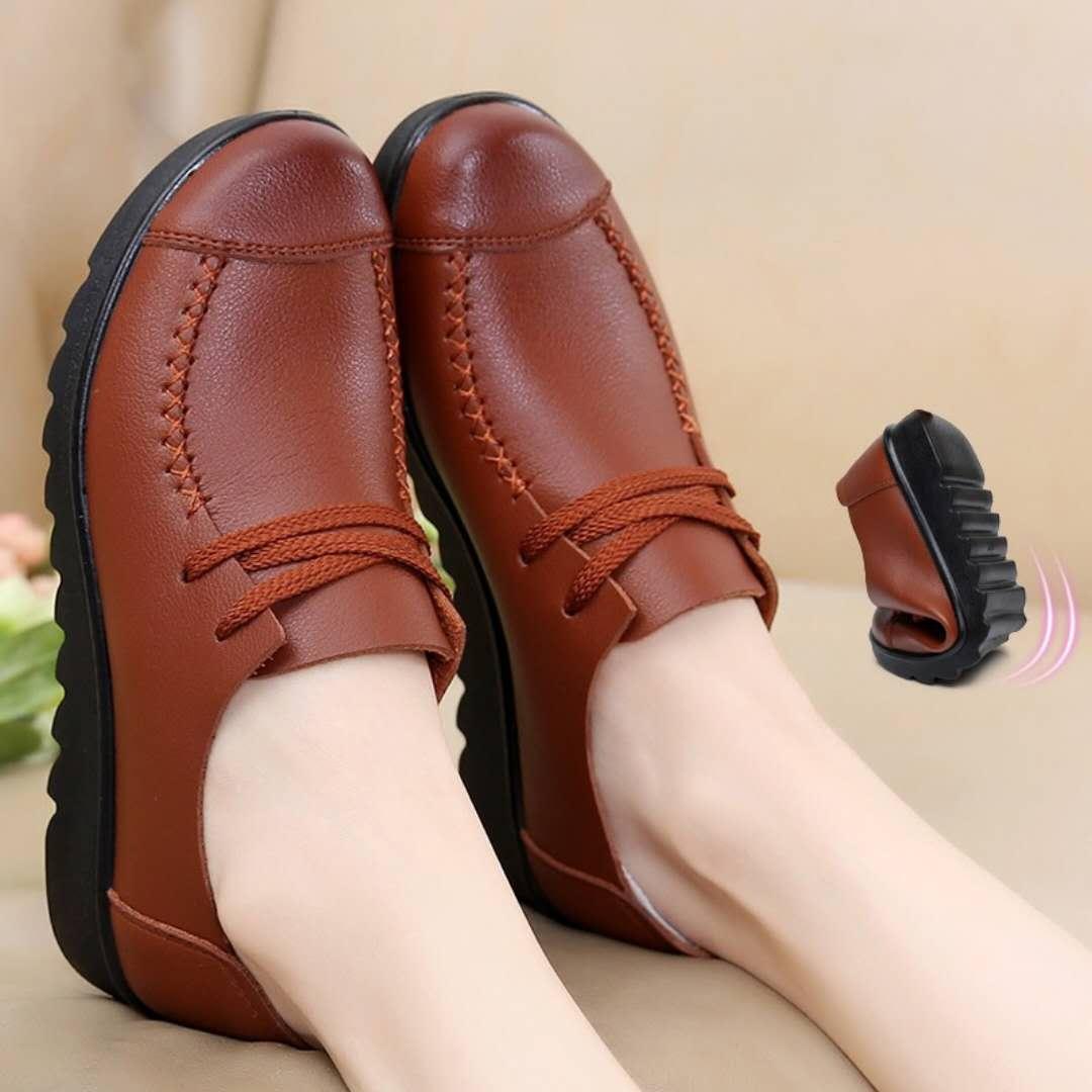 单鞋 23中年大码女鞋单鞋女春秋新款妈妈鞋中老年奶奶平底皮鞋防滑软底_推荐淘宝好看的女单鞋