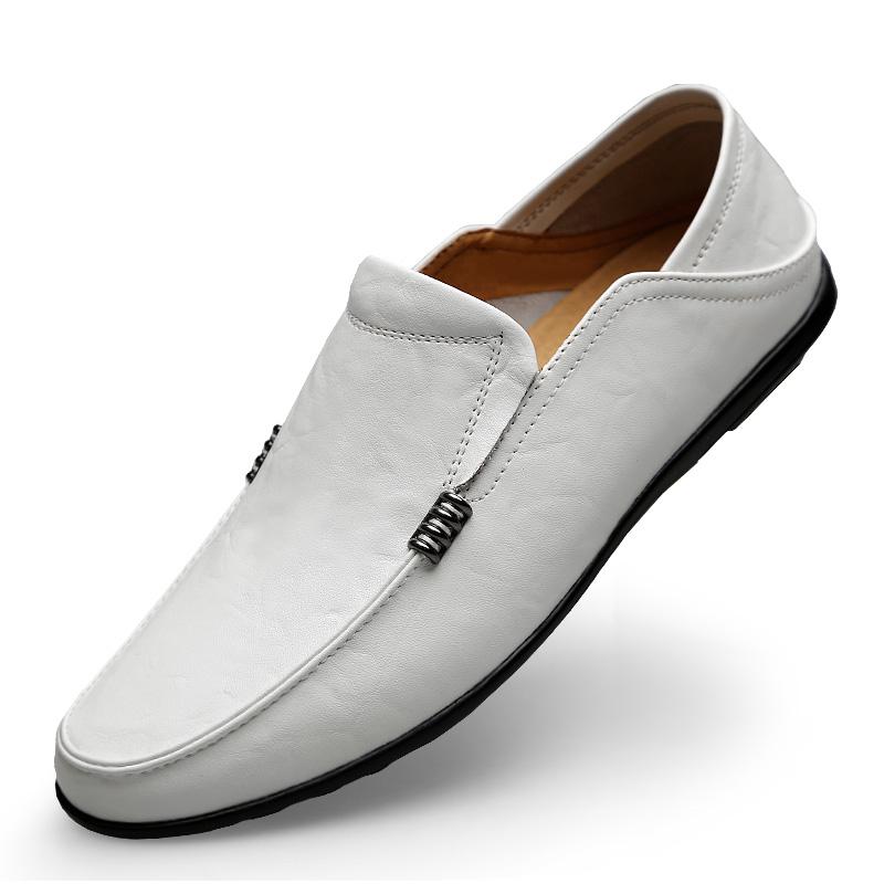白色豆豆鞋 夏季2020新款豆豆鞋男韩版真皮休闲皮鞋懒人鞋子白色软底男鞋透气_推荐淘宝好看的白色豆豆鞋
