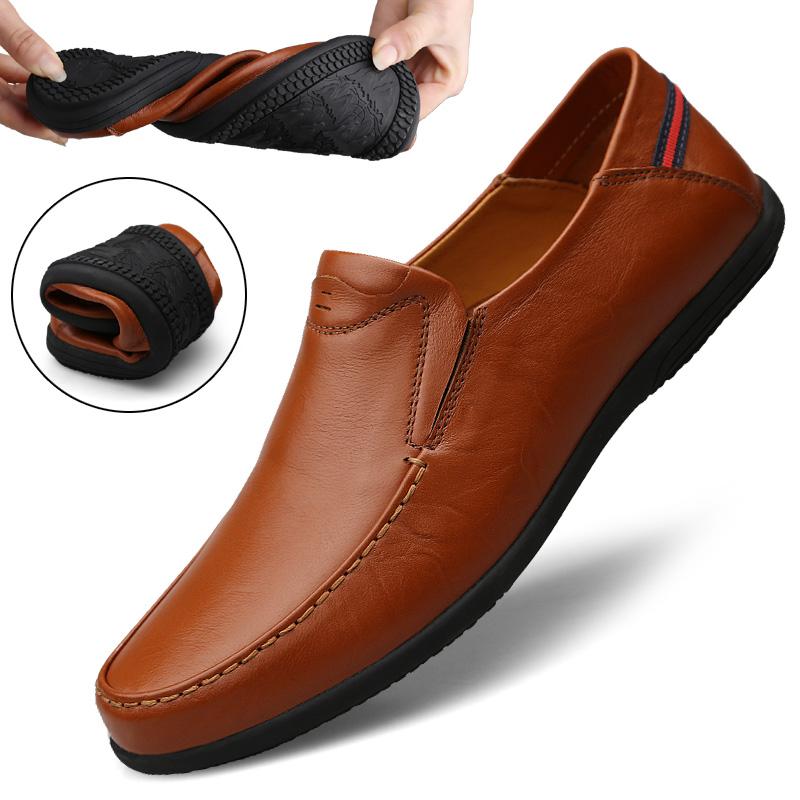 白色豆豆鞋 春季豆豆鞋男真皮休闲皮鞋韩版软底男鞋透气一脚蹬懒人鞋子白色潮_推荐淘宝好看的白色豆豆鞋