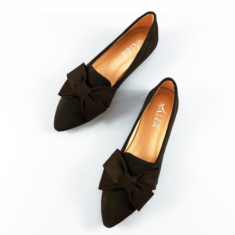 紫色尖头鞋 尖头单鞋平底蝴蝶结粗跟女鞋女豆豆鞋玫红色鞋子紫色鞋红色船鞋夏_推荐淘宝好看的紫色尖头鞋