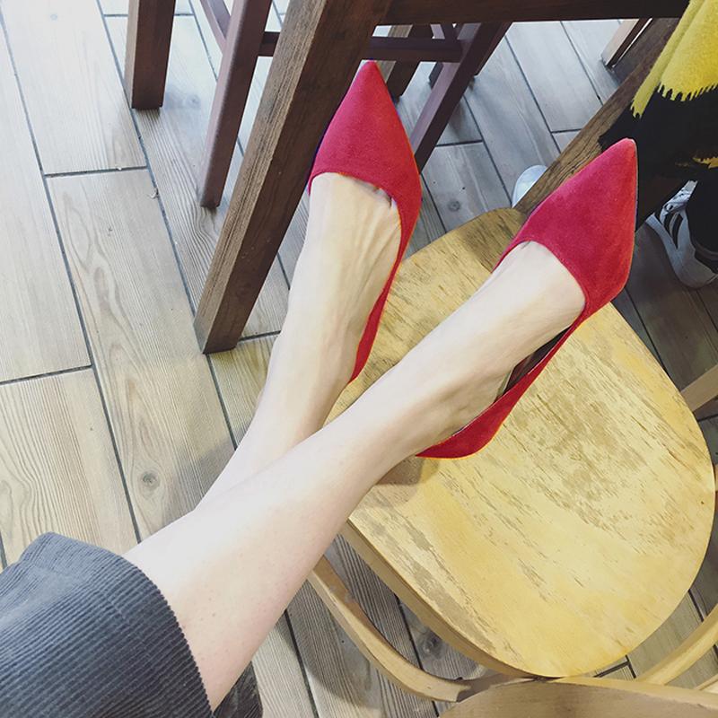 红色豆豆鞋 2020新款红色平底女尖头大码单鞋女鞋淑女春百搭豆豆鞋船鞋41码鞋_推荐淘宝好看的红色豆豆鞋