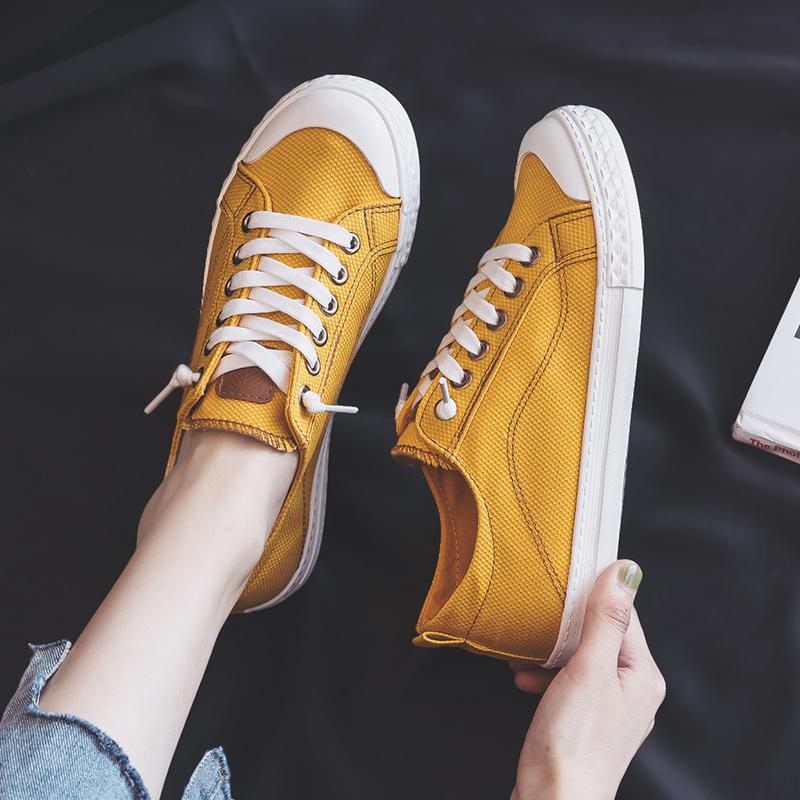 黄色平底鞋 人本帆布鞋女2021春季新款学生韩版百搭黄色板鞋基础平底小白鞋女_推荐淘宝好看的黄色平底鞋