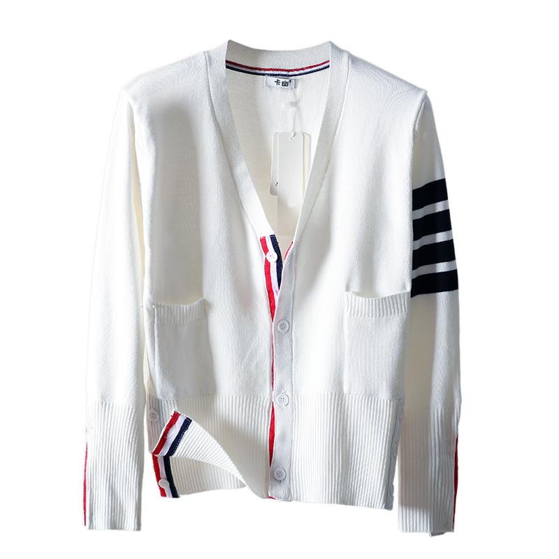 白色针织衫 jzztb开衫女春秋装新款白色针织衫开衫撞色四道杠条纹上衣短外套_推荐淘宝好看的白色针织衫