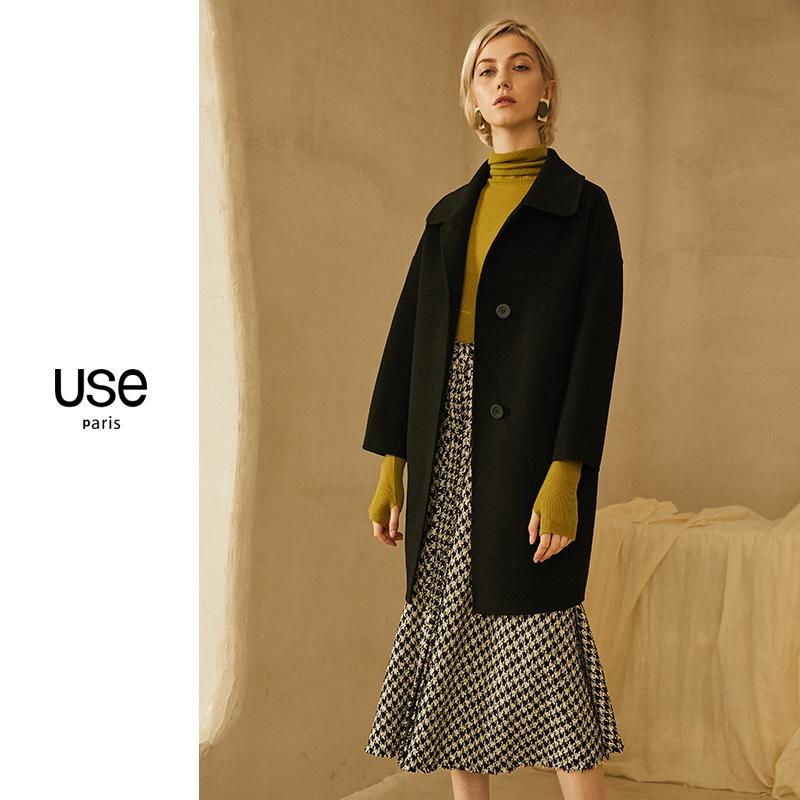 外套 USE黑色双面呢羊毛大衣女2020秋冬款毛呢外套女赫本风茧型气质_推荐淘宝好看的女外套